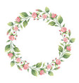 watercolor wreath of green branches and vector image