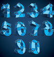 Set of 3d low poly blue numbers with white vector image