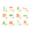 stylized beach and holiday icons vector image