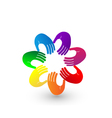 Colorful hands team logo vector image