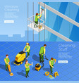 cleaning isometric horizontal banners vector image