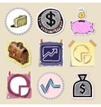 Hand drawn finance emblems set Isolated vector image