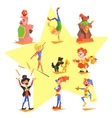 Circus collection with carnival fun fair vector image