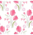 Seamless pattern with stylized cute red tulips vector image vector image