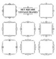 black and white set of vintage elegant square vector image