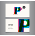 Business card template letter P vector image