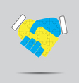 Handshake cooperation puzzle pattern vector image