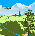 helicopter flying over the green valley vector image