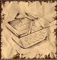 Market basket on vintage background vector image