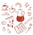 morning coffee funny doodles set vector image