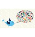 Social media marketing twitter bird concept vector image