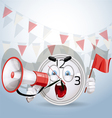 Watch smile shouting through a megaphone vector image