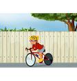 A young boy biking vector image