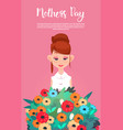 happy mother day woman hold present flowers vector image