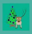 flat shading style icon christmas tree deer vector image