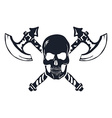 Skull with Crossed Axes isolated on white vector image vector image