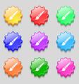 brush icon sign symbol on nine wavy colourful vector image