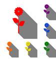 flower sign set of red orange vector image