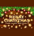 gold merry christmas and happy new year black vector image