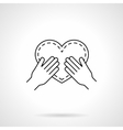 Heart in hands black flat line icon vector image