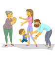nanny with the child meets mum and father vector image