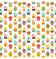 seamless pattern with cupcakes and muffins kawaii vector image