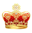 royal gold crown with jewels and ornament vector image