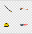 Realistic sharpener hatchet tongs and other vector image