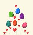 trees growing easter eggs background vector image vector image
