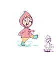 Girl in a puddle vector image