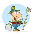 Farmer Carrying A Rake And Pail vector image