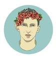 face of the boy in flowers vector image