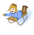 boy sledding down the hills vector image