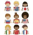 children flag icons vector image