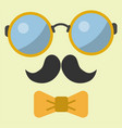 hipster glasses retro hair style mustache vector image