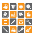 Silhouette kitchen gadgets and equipment icons vector image vector image