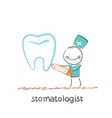 stomatologist drawing tooth vector image vector image