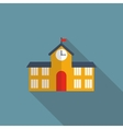 School Building Flat Icon with Long Shadow vector image vector image