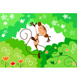 happy jumping monkey vector image vector image