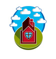 house on cloudy background beautiful fairy vect vector image