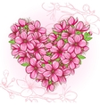 Peach blossom in the shape of heart vector image