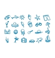 Beach doodle icons vector image