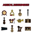 Musical instruments flat icon set vector image