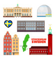 sweden stockholm travel set with architecture vector image