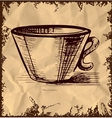 Cup icon isolated on vintage background vector image