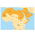 arab world states political map with orange vector image