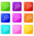 oh speech bubble icons 9 set vector image
