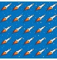 Seamless Childish Pattern with Rockets and Flame vector image