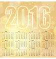 2016 New Year gentle Gold Calendar vector image