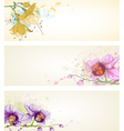 floral banners with butterflies vector image vector image